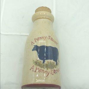 Blue Sky Stoneware Milk Jug Cow Bank